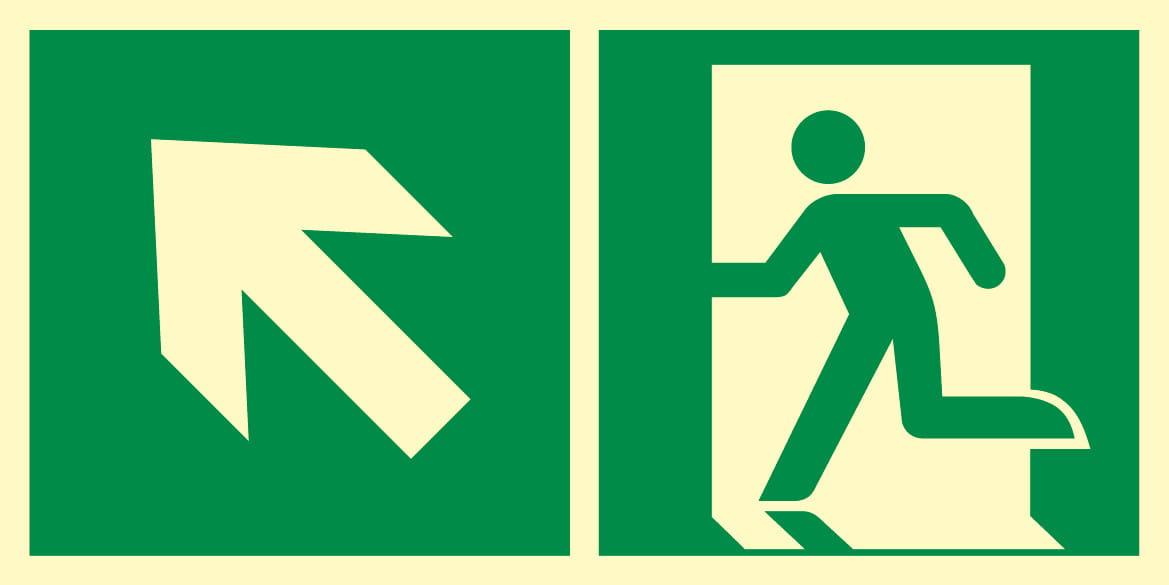 Kierunek do wyjścia ewakuacyjnego w lewo do góry