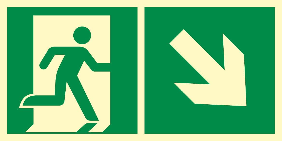Kierunek do wyjścia ewakuacyjnego w prawo w dół